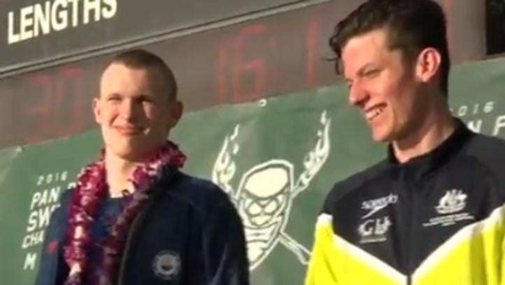 Zionsville's Jack Franzman, left, won a silver medal and Australia's Jack Cartwright gold in the 50-meter freestyle.