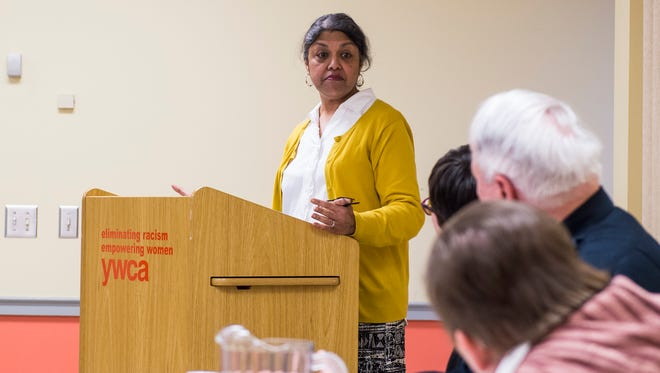 Dr. Rukhsana Rahman introduces a panel of speakers during a program discussing racial and ethnic profiling at the YWCA in Gettysburg on Saturday, April 22, 2017.