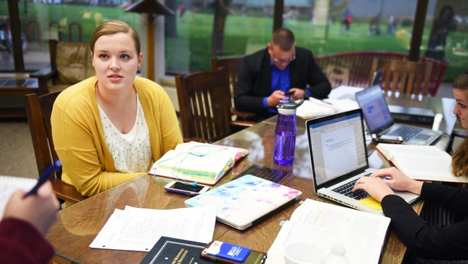 Kelcy Shauman, first year law student, talks about how she feels about the University of South Dakota's law school program possibly being moved to Sioux Falls, Monday, Oct. 2, in Vermillion. A USD Law School Task Force Friday will make recommendations about where to house the school in the future.
