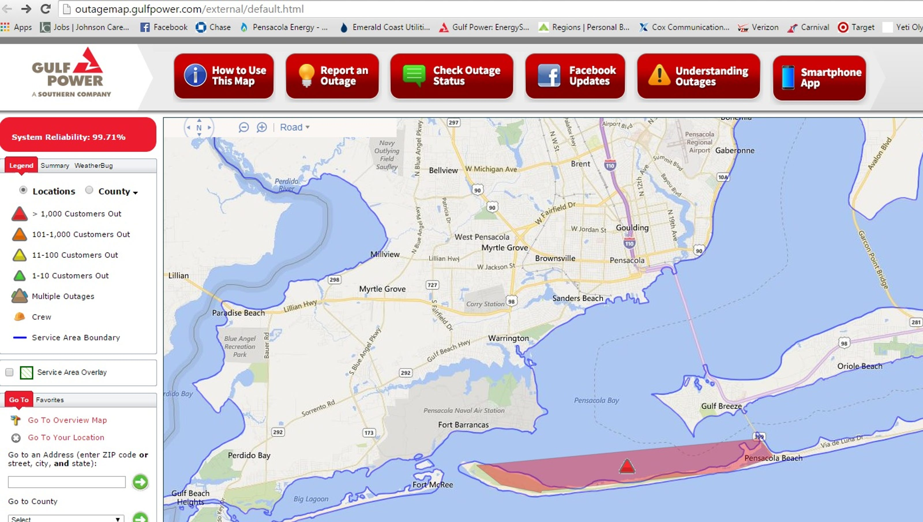 Cox Power Outage Map.Power Back On At Pensacola Beach