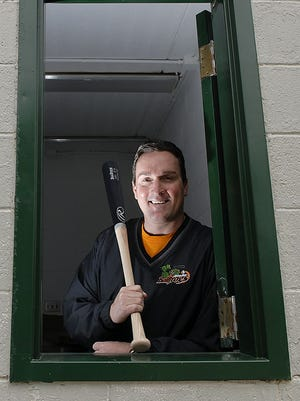 Jeffrey Royle at Joannes Stadium in Green Bay during his time as Green Bay Bullfrogs owner and president.