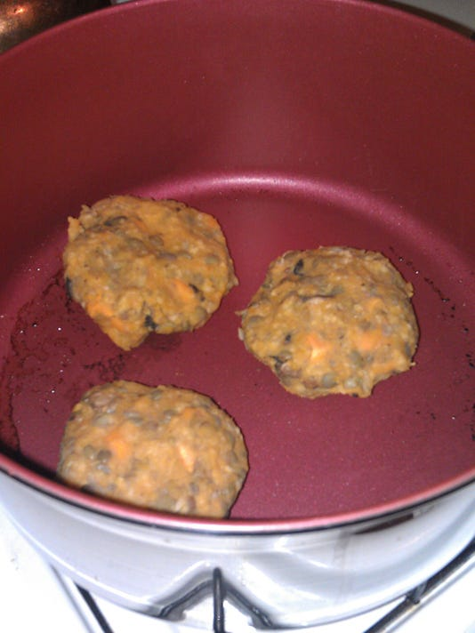 Leftover bean burgers on their way to becoming dinner. Photo by Bethany Fehlinger