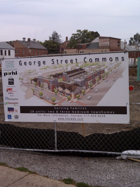 Here is a sign outside the construction site at George Street Commons in York. Great to see new construction in that area of town.