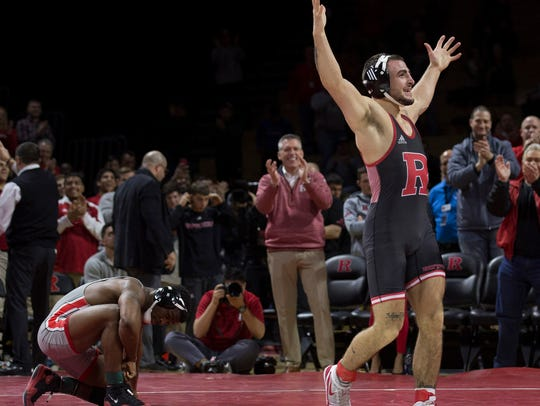 Rutger's Richie Lewis celebrates after defeating  Ohio