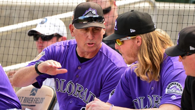 Rockies manager Bud Black, here counseling pitcher Jon Gray, returns to the dugout after a second stint in a front office.