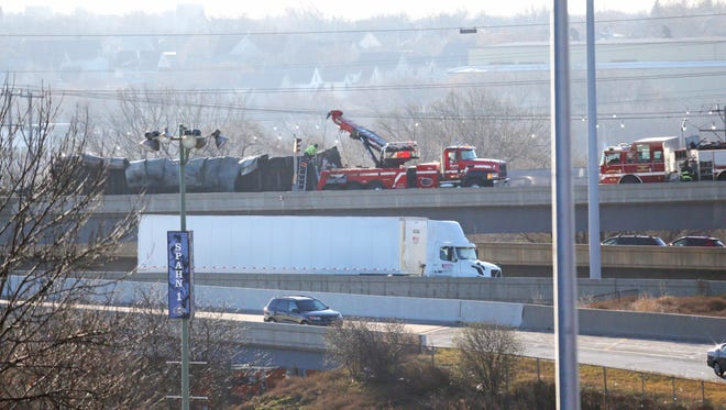 Cleanup continues at he scene of a semi rollover crash, and fire tied up traffic at the stadium interchange on the ramp at WIS 175 southbound ramp onto I-94.