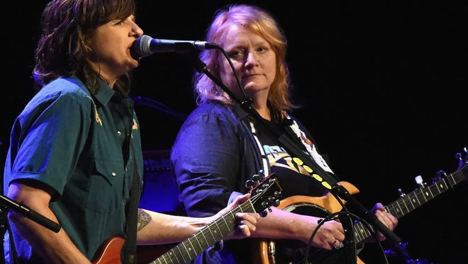 Indigo Girls, Amy Ray and Emily Sailers perform at the Ryman Auditorium on September 22, 2015 in Nashville, Tennessee.