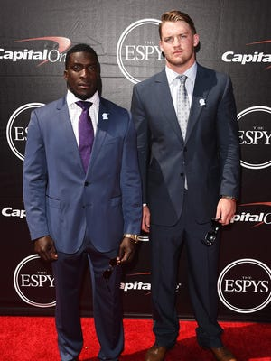 Former Ole Miss football players Senquez Golson (left) and Bo Wallace attend The 2015 ESPYS at Microsoft Theater on July 15, 2015 in Los Angeles, California.