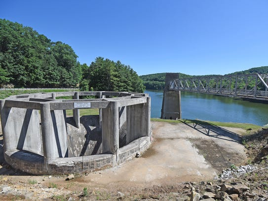 The morning glory spillway at Pleasant Hill dam.