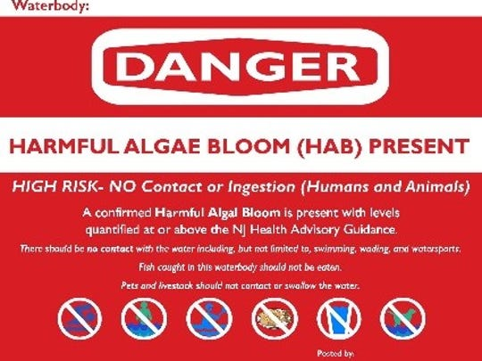 A warning sign that New Jersey affixes near bodies of water where harmful algae blooms have been confirmed.