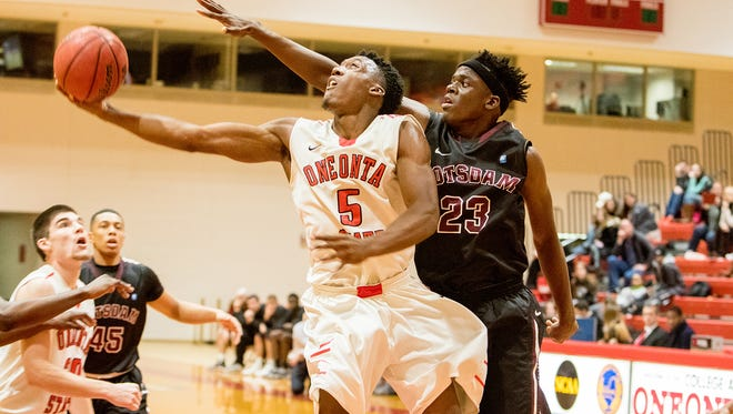 Hen Hud graduate and SUNY Oneonta junior forward Lawrence Coleman (5) was named the SUNYAC's Player of the Week.
