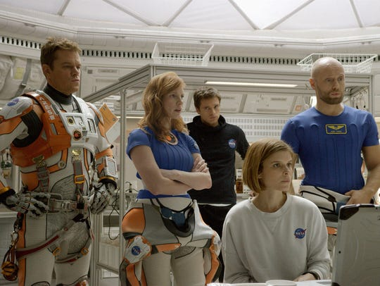 Damon (from left) and his space crew from 'The Martian':
