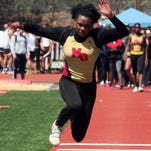 Mount Olive senior Keturah Orji competes in the triple jump during the Morris Hills Relays at Gifford Field on Saturday in Rockaway.