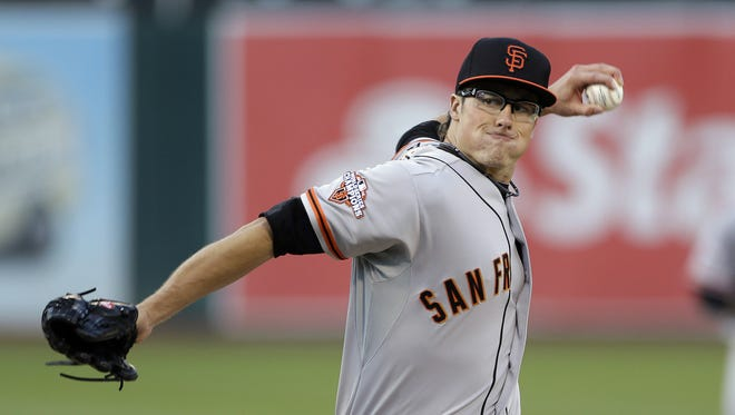 Former Glendale High School and Missouri State pitcher Mike Kickham during a 2013 game for the San Francisco Giants.