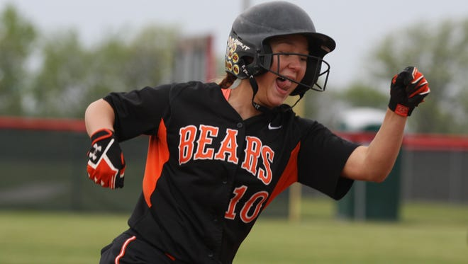 Gibsonburg's Shylee Schmeltz rounds third Tuesday to score the walk-off run in a victory over New Riegel.