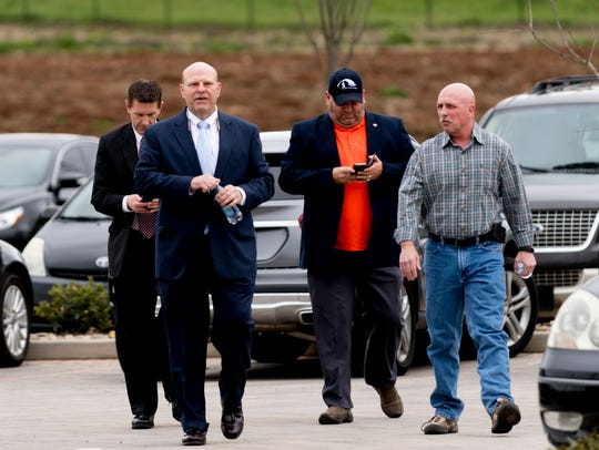 Knox County sheriff candidate Lee Tramel arrives to