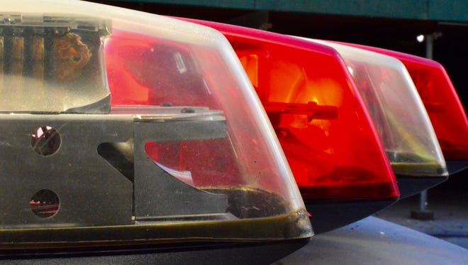 Police car emergency lights close up
