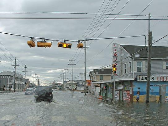 Flooding on Long Beach Boulevard.
