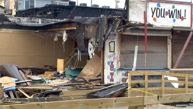Businesses burned out in Seaside Heights, N.J., are shown Sept. 16, 2013.