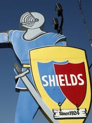 The imposing sign pointing the way to Shields Date Gardens in Indio.