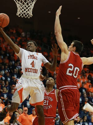 UTEP's Lee Moore scores against Western Kentucky. The Miners play Southern Miss on Thursday at the Don Haskins Center.