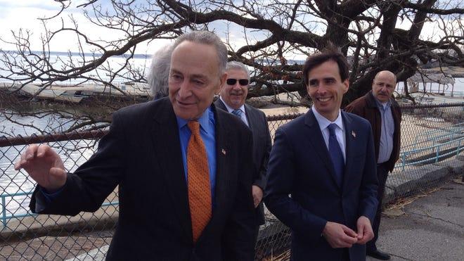 Sen. Charles Schumer, visiting New Rochelle's Hudson Park on March 20, 2014.