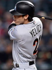 Christian Yelich batted .282 with 18 homers, 81 RBI, 16 stolen bases and .807 OPS in 156 games for the Marlins last season.