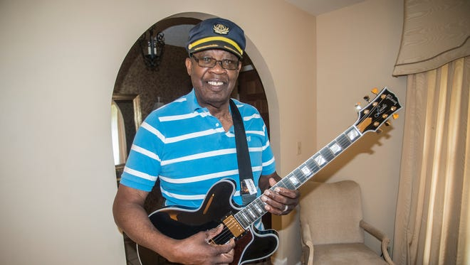 "Stanford ""Guitar Slim"" Barnes, who is being inducted into the Alabama Blues Hall of Fame on Sept. 23, plays in his Montgomery home."