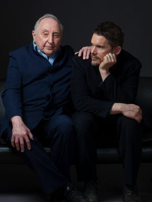"Piano instructor Seymour Bernstein, left, poses with actor Ethan Hawke. Hawke made a documentary about Bernstein called ""Seymour: An Introduction."""