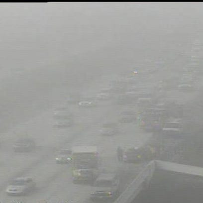 Foggy conditions on Interstate 75 Tuesday morning,