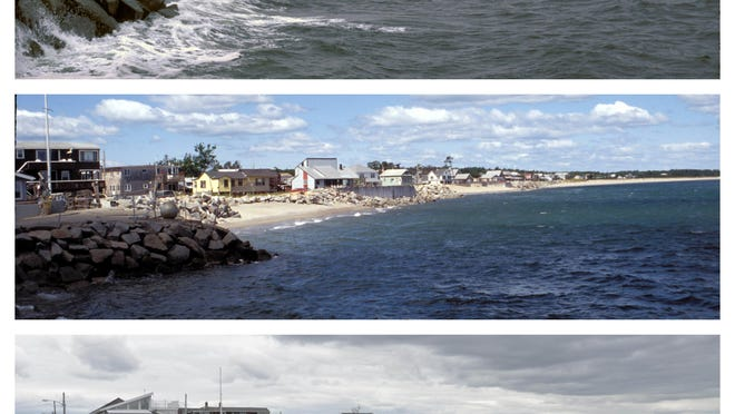 From top to bottom, the shoreline along Camp Ellis in Saco in 1983, 1995 and 2017.