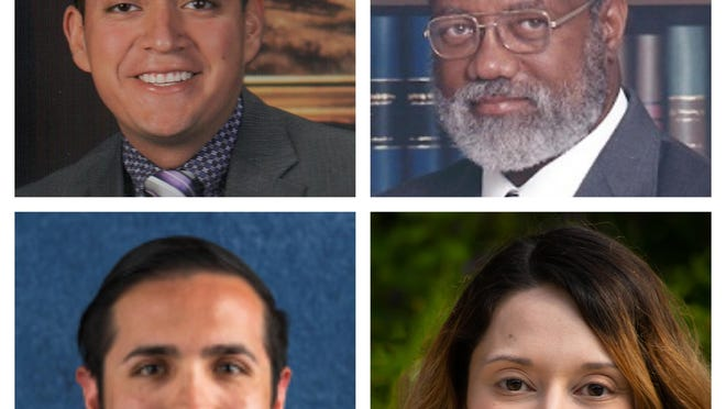 Juan Miguel Arredondo, the incumbent, top left, is running against James Bryant Jr., top right, for the district 1 seat on the San Marcos school board. Nicholas Costilla, bottom left, is running against Mayra Mejia, bottom right, for the district 3 seat on the San Marcos school board.