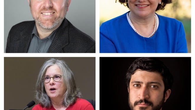 From top left: Austin City Council members Jimmy Flannigan and Alison Alter are headed to runoffs, while council members Leslie Pool and Greg Casar won won  re-election.