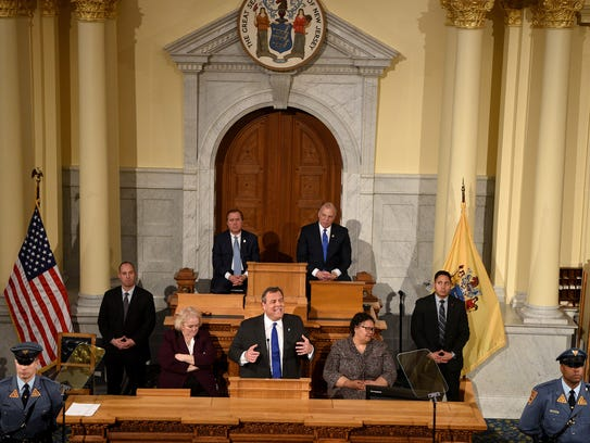 Gov. Chris Christie gives his final State of the State address in the Assembly chamber at the State House in Trenton on Tuesday, January 9, 2018.