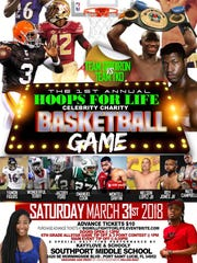 Football players square off against boxers i na charity basketball game March 31 in Port St. Lucie.