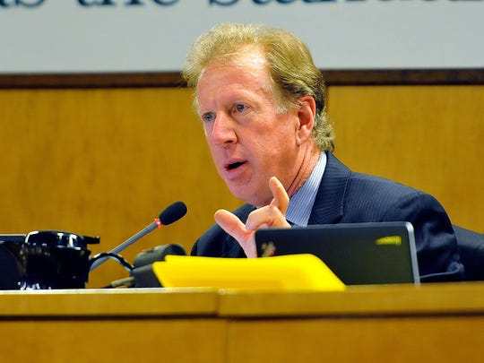 School Board member Andy Ziegler talks about the agenda during Tuesday nights Brevard Public School Board meeting in Viera. The School board has proposed a revision to the district's non-discrimination policy which would protect gays, lesbian, bisexual and transgender. .