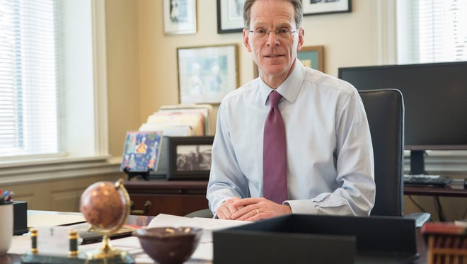 Ball State University President Geoffrey Mearns works in his office on Jan. 9 at the start of the spring semester for the university. Mearns along with other officials have been working on deciding the branding and vision for the university moving ahead.