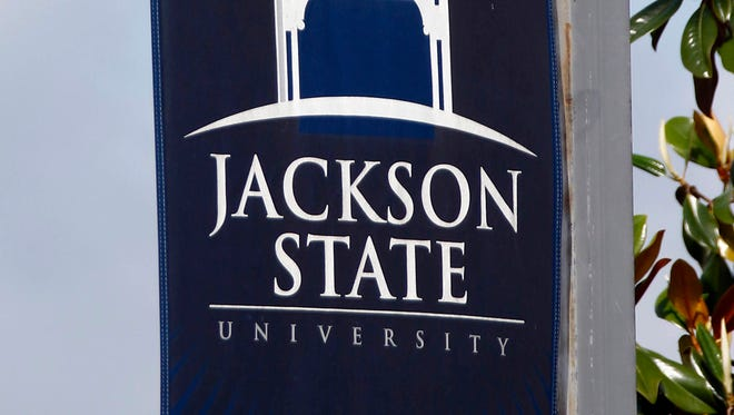 A Jackson State University banner is shown in this file photo.