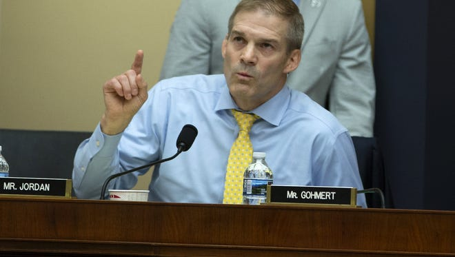 Representative Jim Jordan, R-Ohio, asks FBI Director Cristopher Wray a question during a United States House of Representatives Judiciary Committee hearing on Capitol Hill on June 28, 2018 in Washington, D.C. (Alex EdelmanCNP/Zuma Press/TNS)