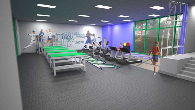 Artist rendering of Alico Arena expanded sports medicine area.