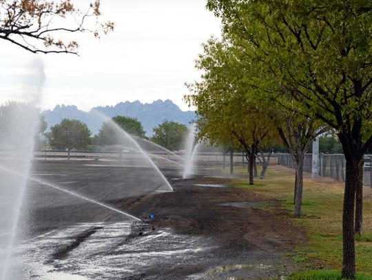 Sprinklers water one of the newly seeded soccer fields