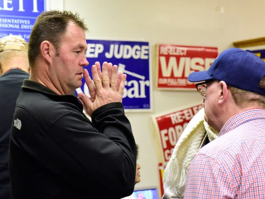 Chris Hilton, Independent running for Sandusky County Sheriff, reacts to being ahead in early absentee vote totals at the Sandusky County Democratic Party Headquarters with Richard Stegman, Sandusky County Democratic Party Executive Director.