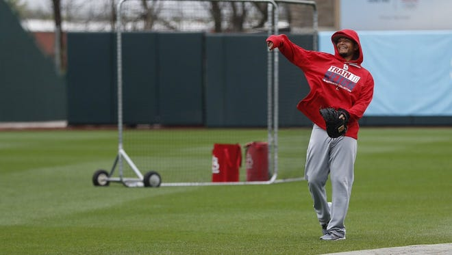 Yadier Molina warms up on Friday, March 31, 2017 in Springfield, Mo. at Hammons Field. The St. Louis team hit Hammons Field for an exhibition game against the Double-A Cardinals.