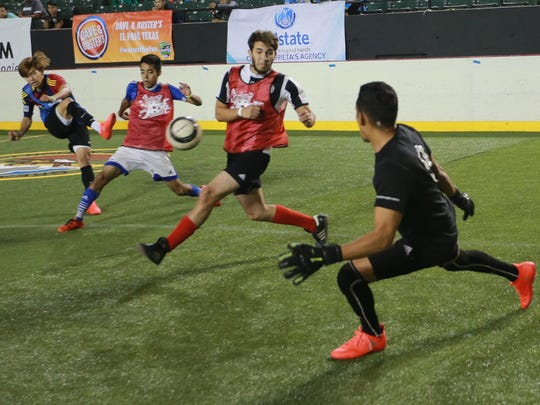 Players try out for the El Paso Coyotes of the Major Arena Soccer League on the first day of tryouts Thursday at the El Paso County Coliseum.