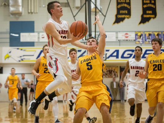Wapahani looks for a layup in the paint against Delta
