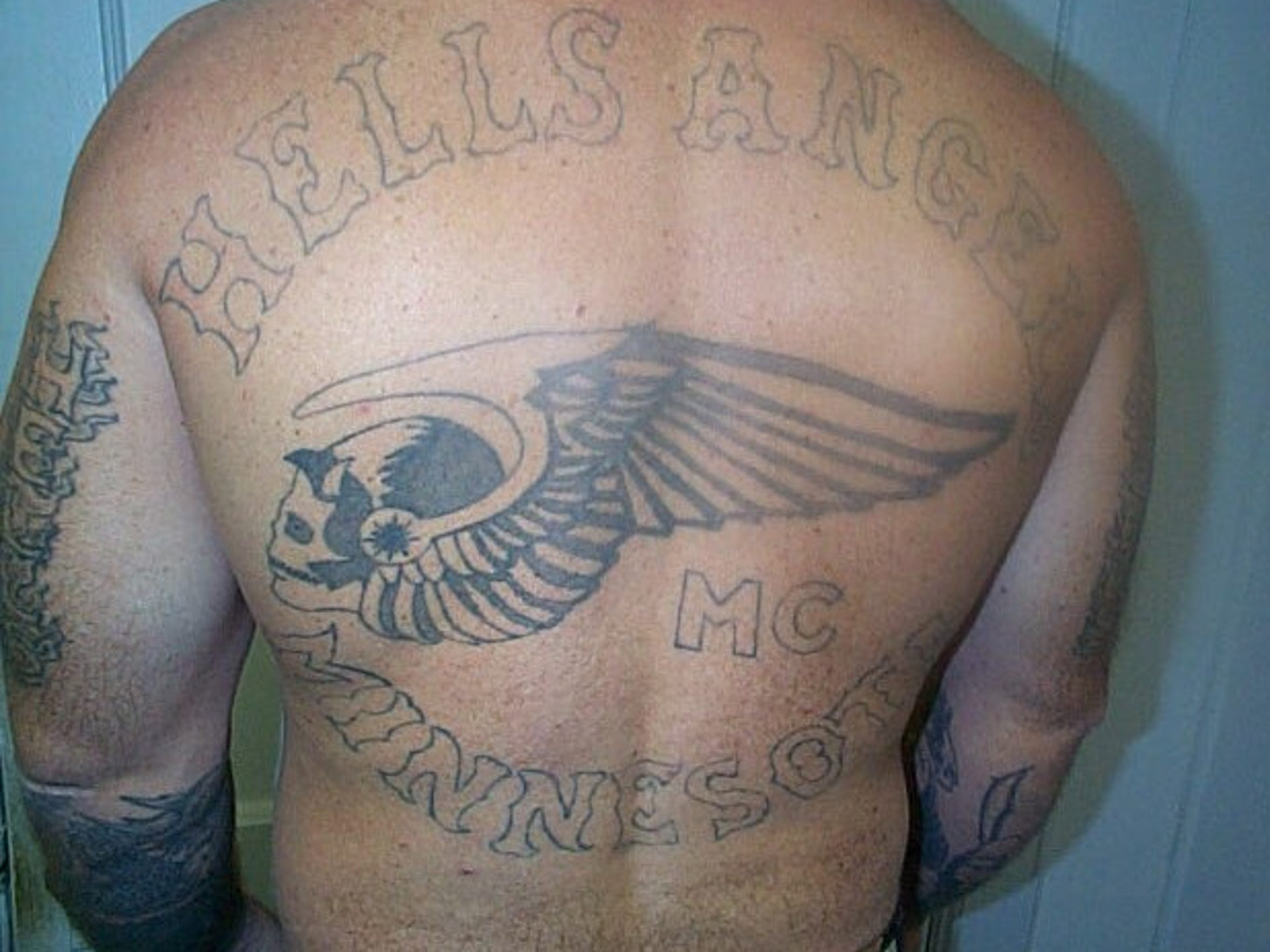 "An inmate's ""Hells Angel"" tattoo."
