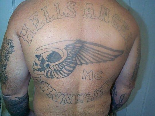 "An inmate's ""Hells Angel"" tattoo."