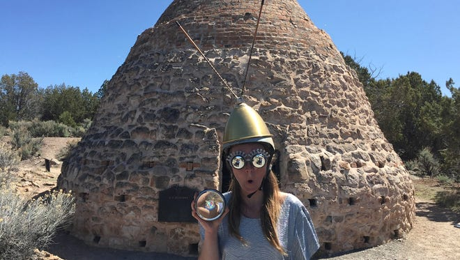 A time traveler poses for a photo in Old Iron Town for the Utah State Parks Selfie Contest.