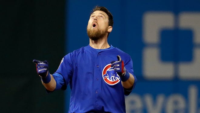 Cubs' Ben Zobrist celebrates his RBI double in the 10th inning of Game 7 in 2016.