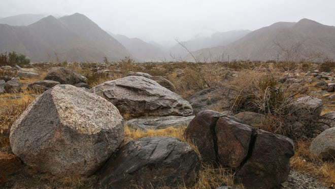 A 42 acre real estate development called Crescendo may be built on this boulder-strewn alluvial fan in between Racquet Club Rd and Tramview Rd in Palm Springs, September 21, 2016.
